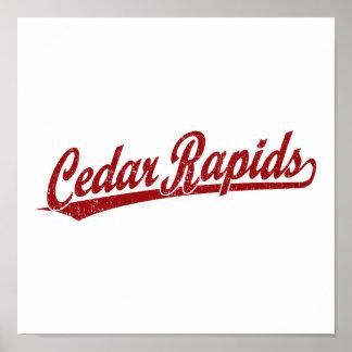 Cedar Rapids script logo in red Poster