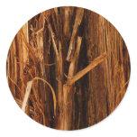 Cedar Textured Wooden Bark Look Classic Round Sticker