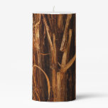 Cedar Textured Wooden Bark Look Pillar Candle