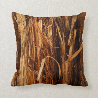 Cedar Textured Wooden Bark Look Throw Pillow