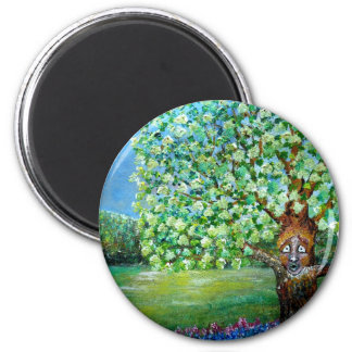 Cedar Tree 2 Inch Round Magnet