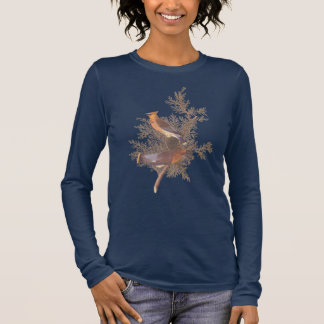 Cedar Waxwing Audubon Bird Pair on Juniper Long Sleeve T-Shirt