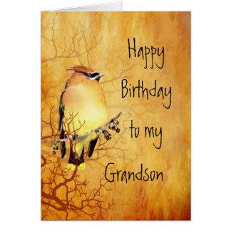 Cedar Waxwing Bird Best Grandson Birthday Card