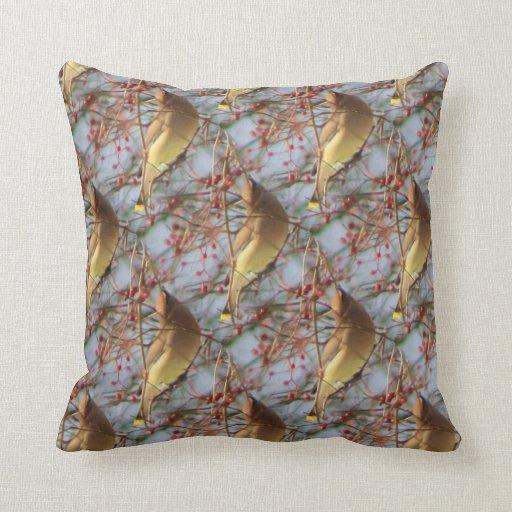 Bird Pattern Throw Pillows : Cedar Waxwing Bird Nature Art Pattern Throw Pillow Zazzle