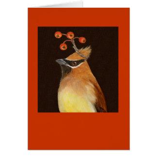 Cedar waxwing card