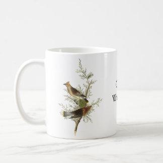 Cedar Waxwing, John Audubon Classic White Coffee Mug