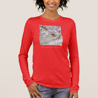 Cedar Waxwing on red Long Sleeve T-Shirt