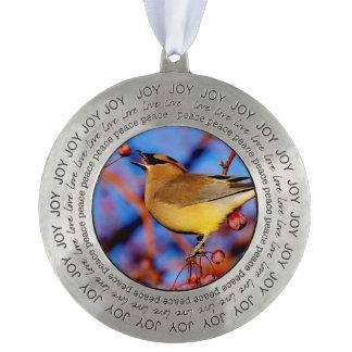 Cedar Waxwing Pewter Ornament