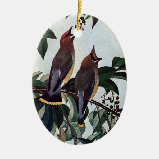 Cedar Waxwings in a Wild Black Cherry Tree Christmas Tree Ornament