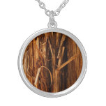 Cedar Wood Textured Bark Look Round Pendant Necklace