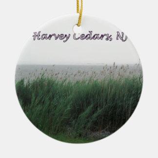 Cedros de Harvey, NJ:  Bahía con la hierba Adorno Redondo De Cerámica