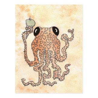 Cefalópodo con el cono de helado tarjeta postal
