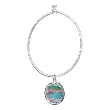 Beach Themed Cefalu Beach - Bangle Bracelet With Round Charm