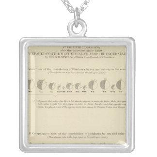 Ceguera, litografía estadística 1870 de los E.E.U. Colgante Cuadrado