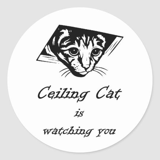 Ceiling Cat is Watching You Classic Round Sticker
