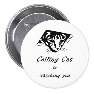 Ceiling Cat is Watching You Pinback Button