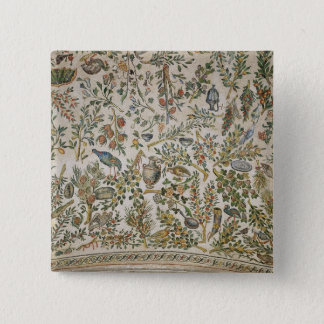 Ceiling decoration with flowers and birds (mosaic) pinback button