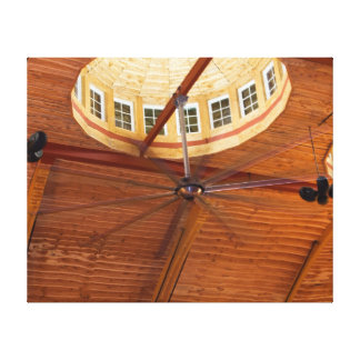 Ceiling Fan with Decorative Wooden Ceiling Photo Canvas Print