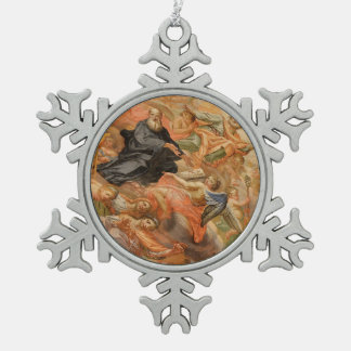 Ceiling Mural Church of San Giuseppe Italy Snowflake Pewter Christmas Ornament
