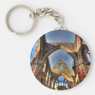 Ceiling View of Ancient Tintern Abbey Wales, UK Keychain