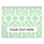 Celadon and White Elegant Damask Pattern Calendar