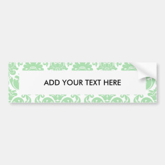 Celadon and White Elegant Damask Pattern Car Bumper Sticker