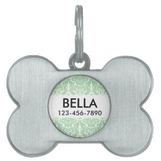 Celadon and White Elegant Damask Pattern Pet ID Tag