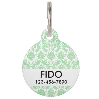 Celadon and White Elegant Damask Pattern Pet Name Tag