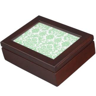 Celadon and White Elegant Damask Pattern Memory Box