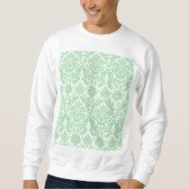 Celadon and White Elegant Damask Pattern Sweatshirt