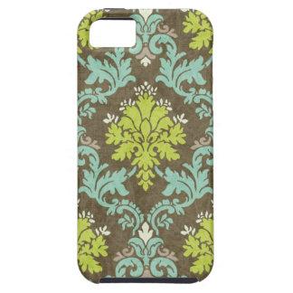 Celadon del vintage y damasco de la aguamarina iPhone 5 Case-Mate cárcasa