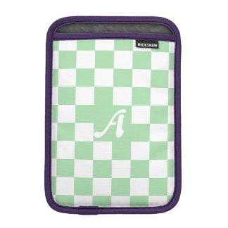 Celadon Green and White Checkered Monogram iPad Mini Sleeve