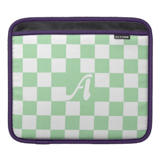 Celadon Green and White Checkered Monogram Sleeve For iPads