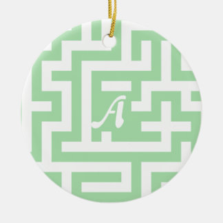 Celadon Green and White Maze Monogram Double-Sided Ceramic Round Christmas Ornament