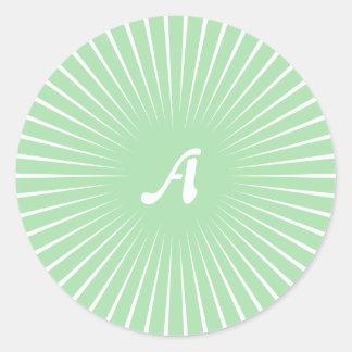 Celadon Green and White Sunrays Monogram Round Sticker