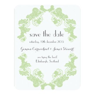 Celadon Green Lace Trim Save The Date Card