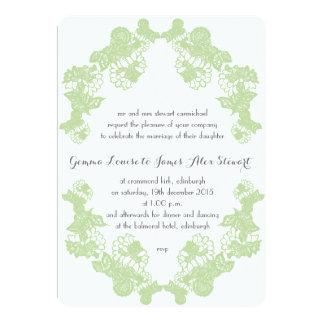Celadon Green Lace Trim Wedding Invitation