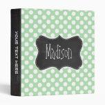 Celadon Green Polka Dots; Chalkboard look Binder