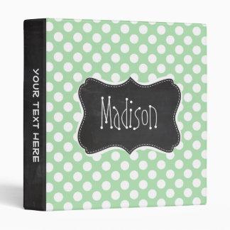 Celadon Green Polka Dots Chalkboard look Binder
