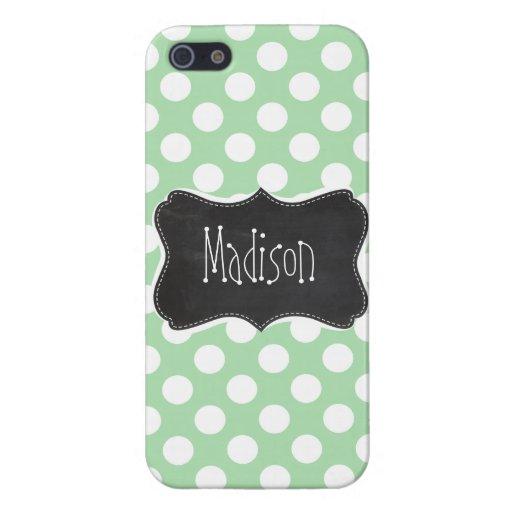 Celadon Green Polka Dots; Chalkboard look iPhone 5 Cases