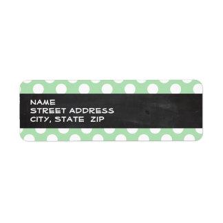 Celadon Green Polka Dots; Chalkboard look Label