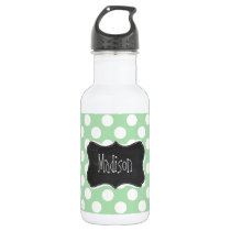 Celadon Green Polka Dots; Chalkboard look Stainless Steel Water Bottle
