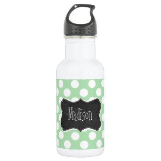 Celadon Green Polka Dots; Chalkboard look Stainless Steel Water Bottle