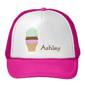 Celadon Green Polka Dots; Ice Cream Cone Mesh Hat