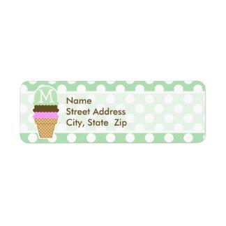 Celadon Green Polka Dots Ice Cream Cone Return Address Labels