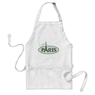 Celadon Green Polka Dots; Paris Adult Apron