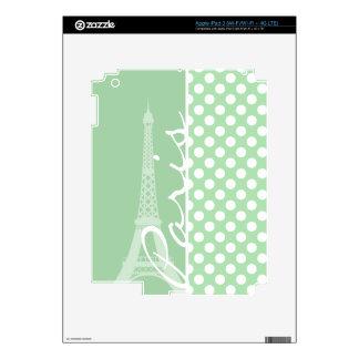 Celadon Green Polka Dots Paris iPad 3 Decals