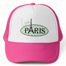 Celadon Green Polka Dots; Paris Trucker Hat