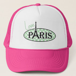 Celadon Green Polka Dots; Paris Trucker Hat