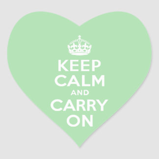Celadon Keep Calm and Carry On Heart Stickers
